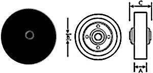 """WHEEL (3-1/2"""",3/8ID,W/BSH,BLK)"""