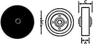 """WHEEL (5"""", 3/8""""ID,W/BSH,BLK)"""